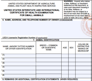 Animal Health Certificate Form
