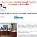 Shareholder Registration postponed until September