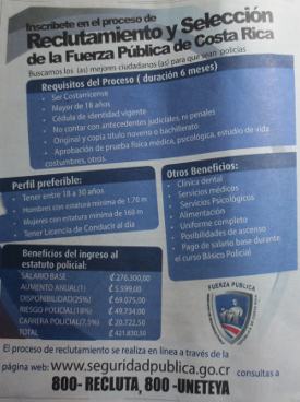 Costa Rica Police Office Salaries