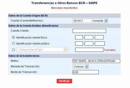 Bank Transfers within Costa Rica Using SINPE